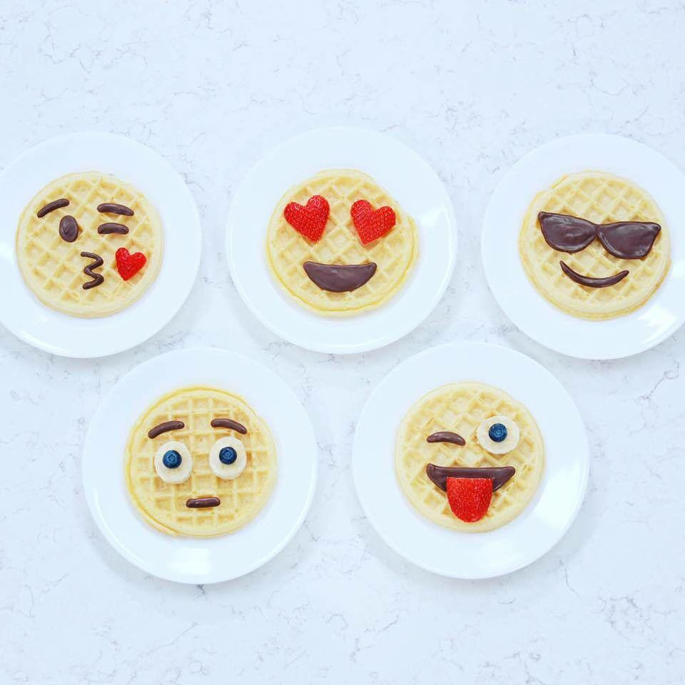 Emoji waffles nerdy nummies birthday breakfast