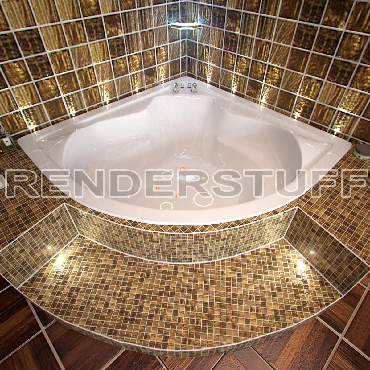 Bathtub 3d model jacuzzi corner tub shower combos for Corner jacuzzi tub shower combo