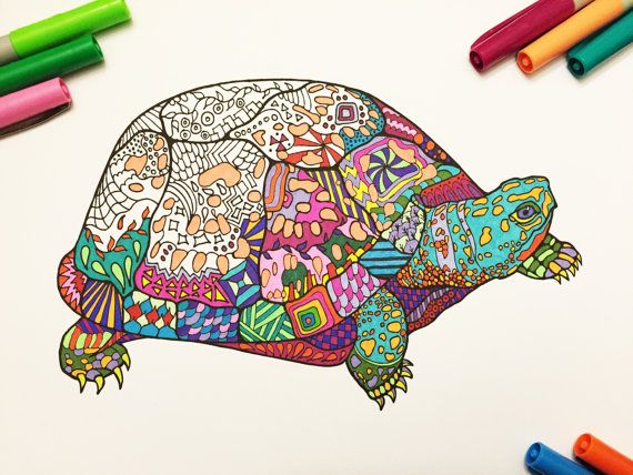 Mindfulness Coloring Pages Pdf : Box turtle pdf zentangle coloring page box turtles zentangles