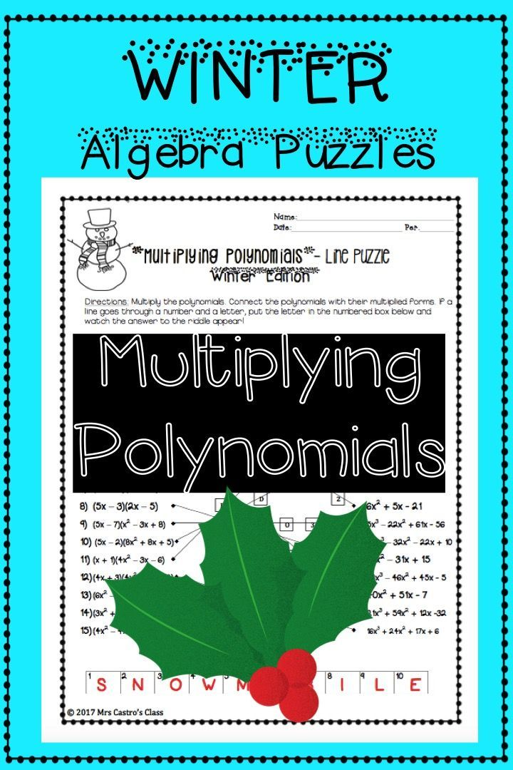Winter Algebra Activity Puzzle - multiplying binomials and ...