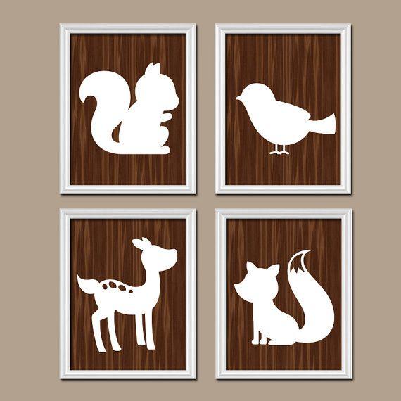 WOODLAND Nursery Wall Art,Woodland Animals Art,CANVAS or ...