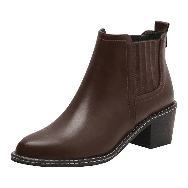 e80ad81b64b4 Brown 39 Slip On Block Heel Chelsea Boots ( 21) ❤ liked on Polyvore  featuring