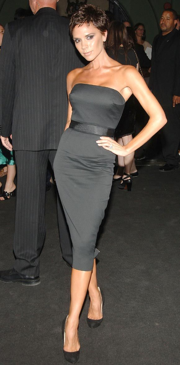 Victoria Beckham modeling one of her dVb dress designs on sale this ...