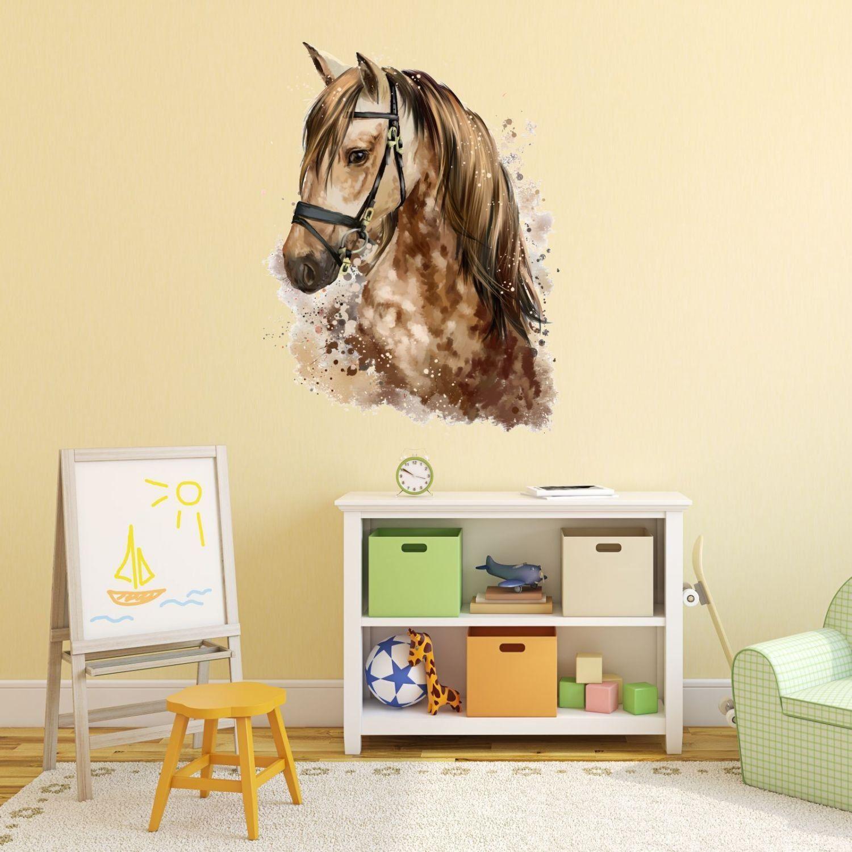 Wandtattoo Pferde Kopf in braun tolle Kinderzimmer Deko