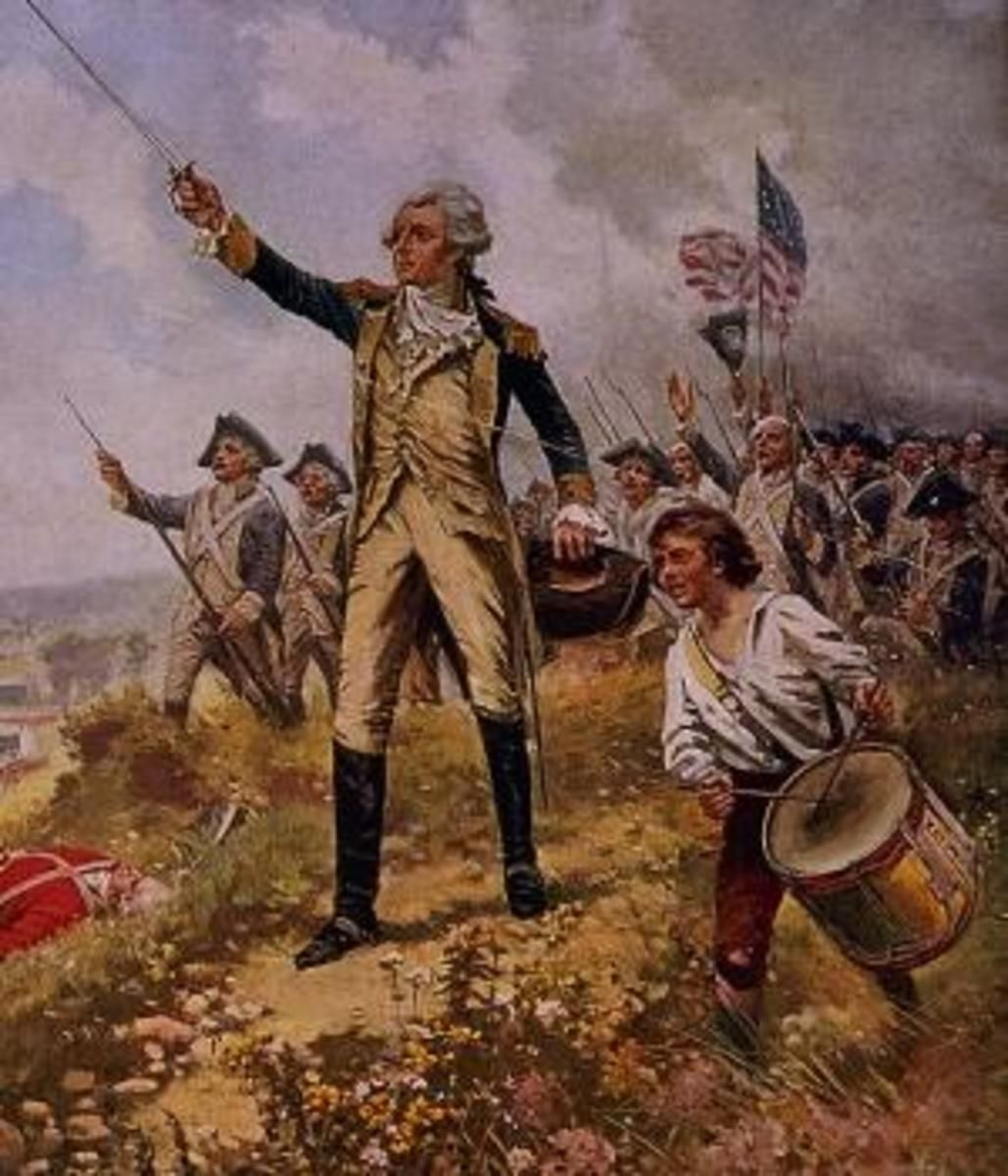 Lafayette leading a charge. American revolutionary war