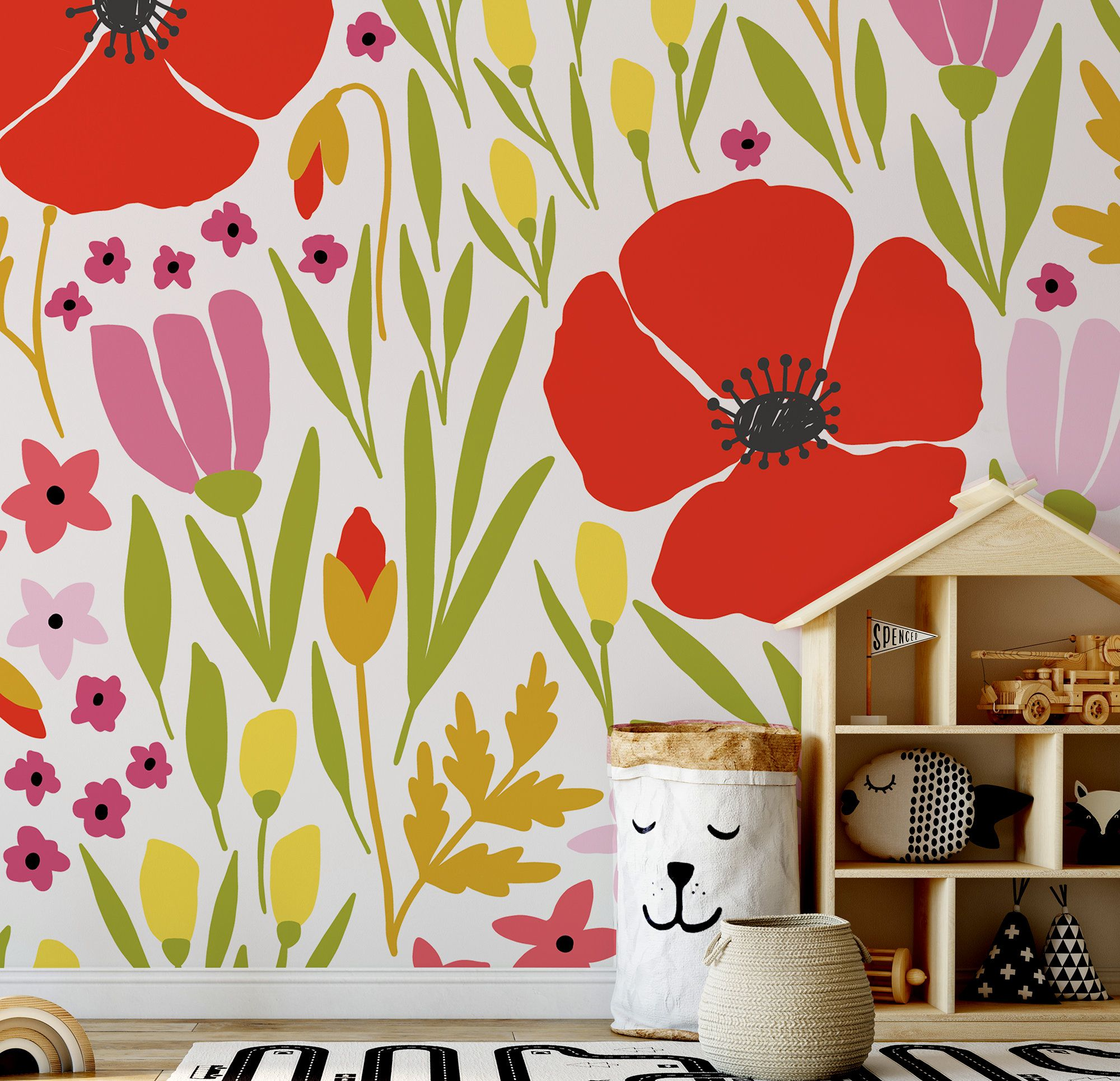 Floral Wallpaper With Red Poppy Flower For Kids Self Etsy Floral Wallpaper Red Poppies Poppy Flower
