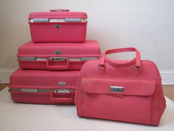 Vintage Luggage Set Pink Vinyl Nesting Four Piece Suitcase Set ...