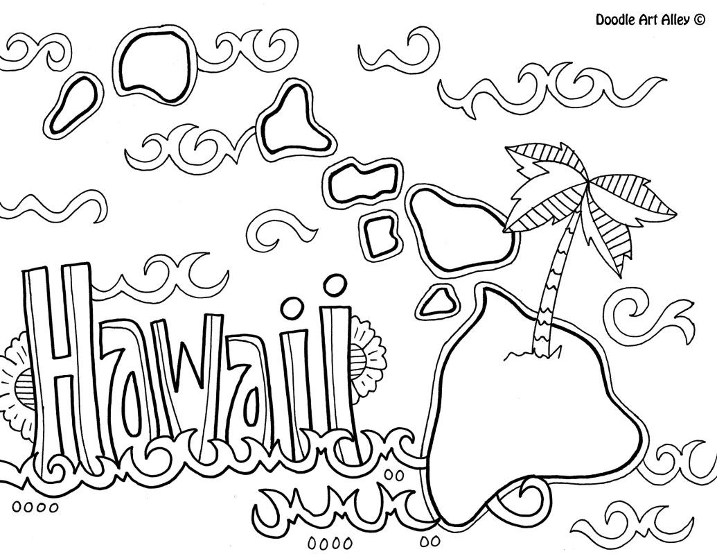 Free coloring pages hawaii - Hawaii Coloring Page By Doodle Art Alley