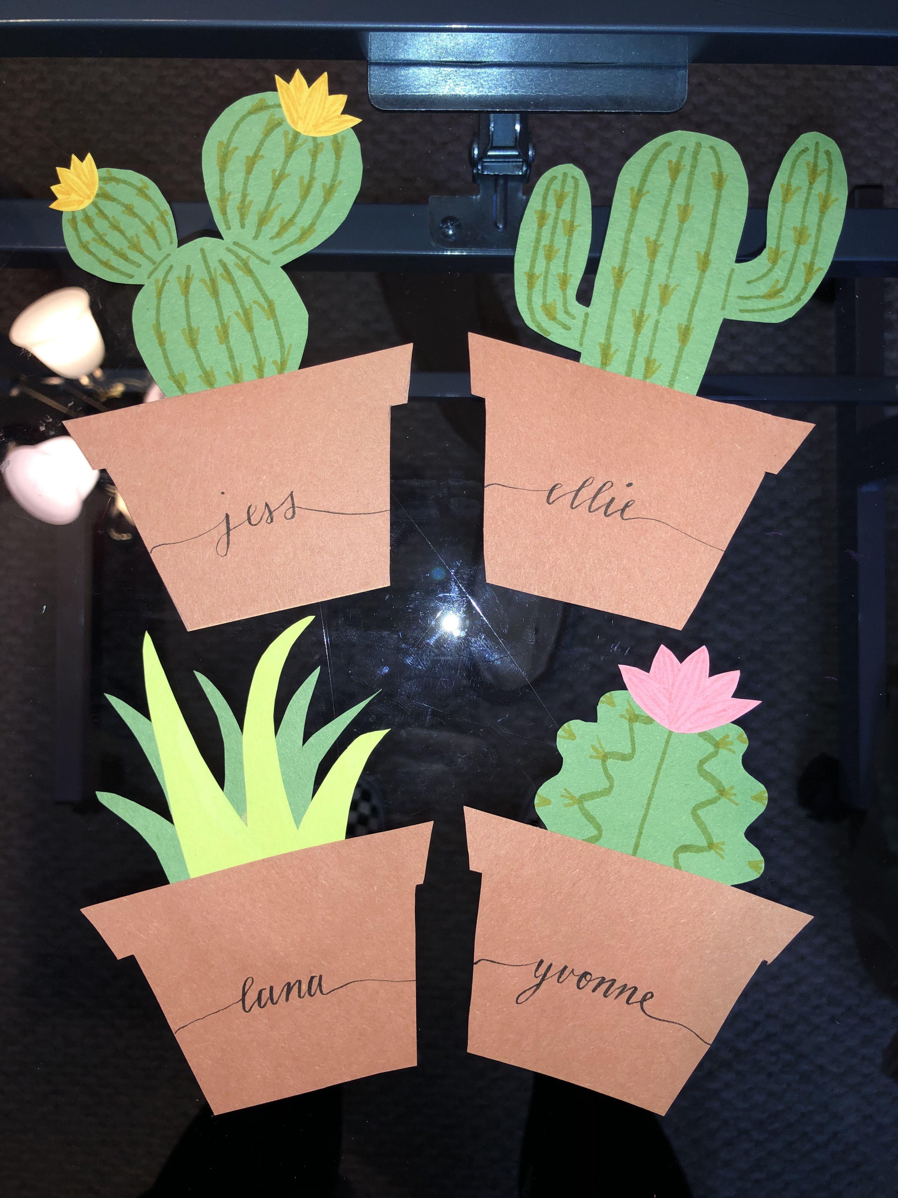 Ra Door Decs Plants Succulents Calligraphy Door Tags Dorm Door Decorations Door Decorations College Dorm Door
