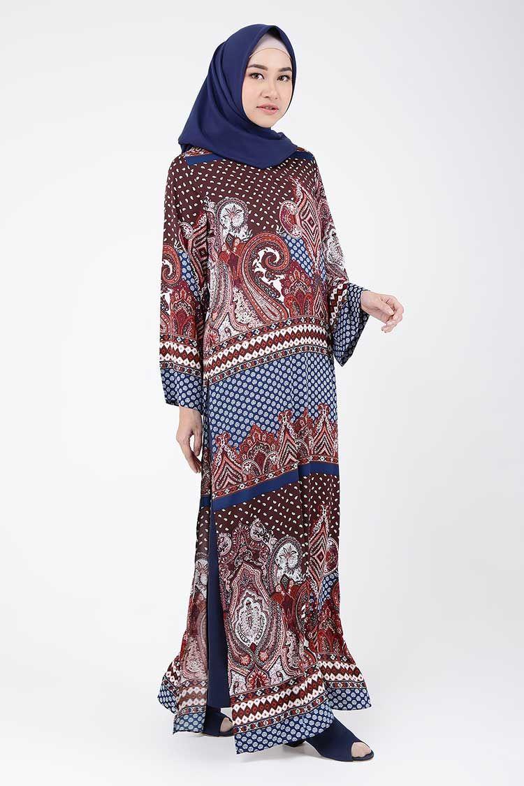Model Baju Gamis Batik Kombinasi Kain Polos 2019 Terbaru