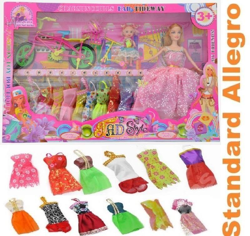 Zestaw Lalka Barbie Coreczka Rowerek Ubranka Books Worth Reading Toys Disney Characters Disney Princess