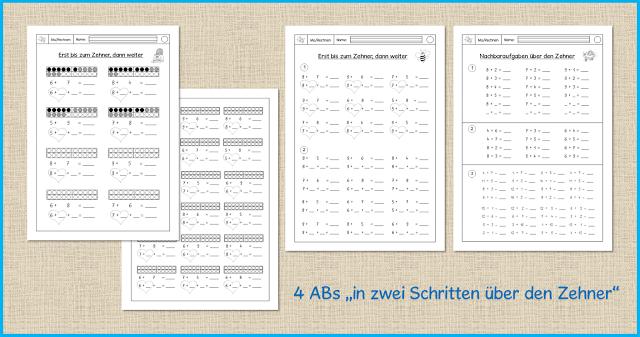 ABs 1. Klasse - in zwei Schritten über den Zehner | Lernen ...