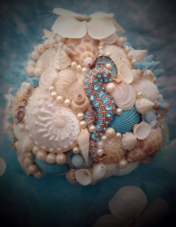 Beach Wedding Bouquet Seahorse By BeachBasketBride On Etsy