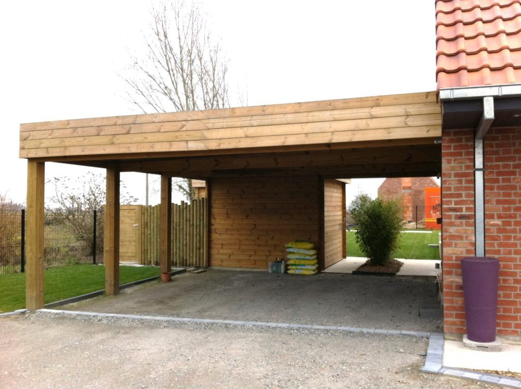 Carport toit plat Toit plat, Garage bois toit plat, Abri