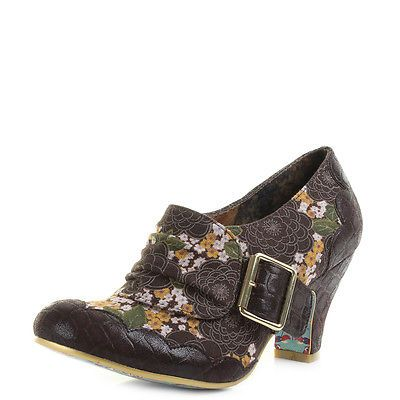 Womens Ladies Irregular Choice Jatta Brown Floral Mid Heel Shoes Shu Size