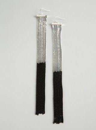 CC Skye silver and black ombre 'Voyeur' long chain earrings