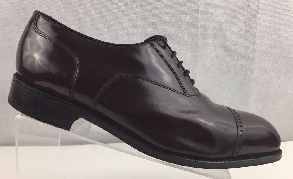 Men Shoe Florsheim Brogues Burgundy Cap Toe Leather Lace Up Oxfords Size 10.5 3E
