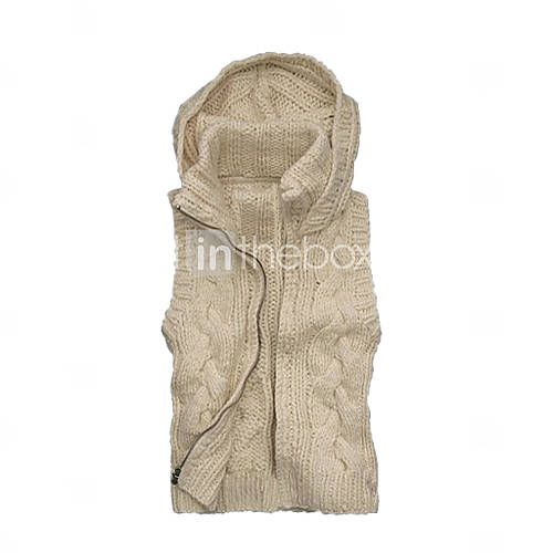 Wool Hooded Sweater Vest Women's Cardigans(1001BB005-0739 ...