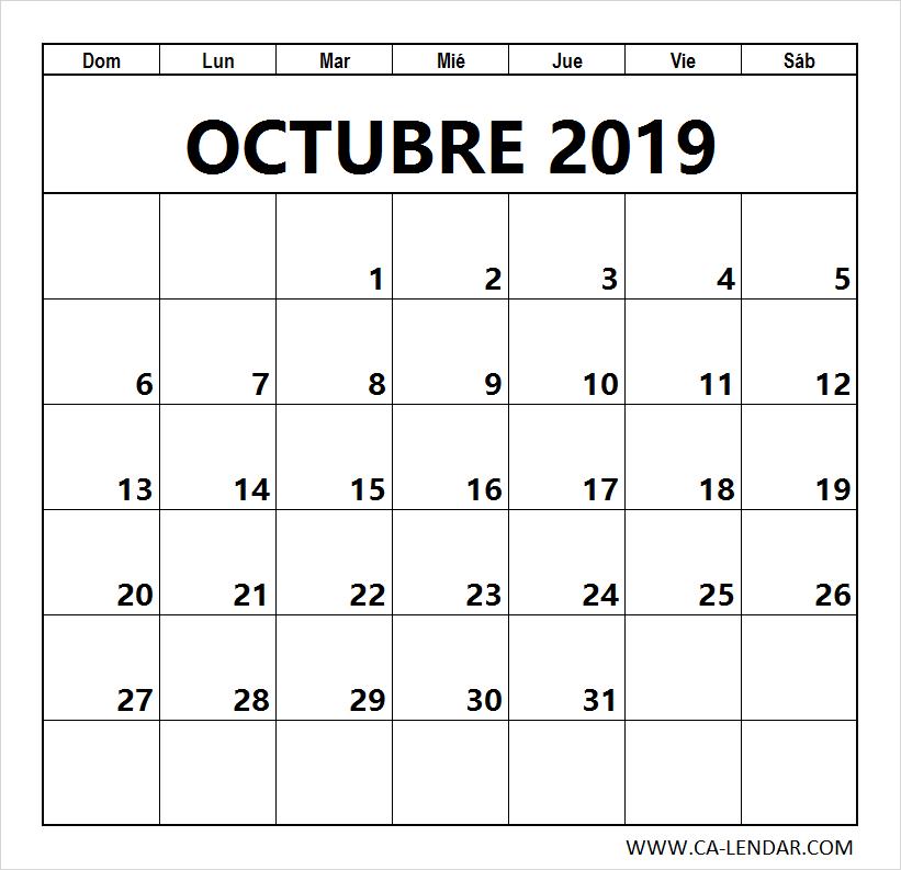 Calendario Mes De Octubre 2020 Para Imprimir.Octubre 2019 Calendario Para Imprimir Letras Calendario