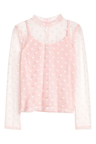 Mesh Top with Camisole - Light pink/hearts - Kids | H&M US