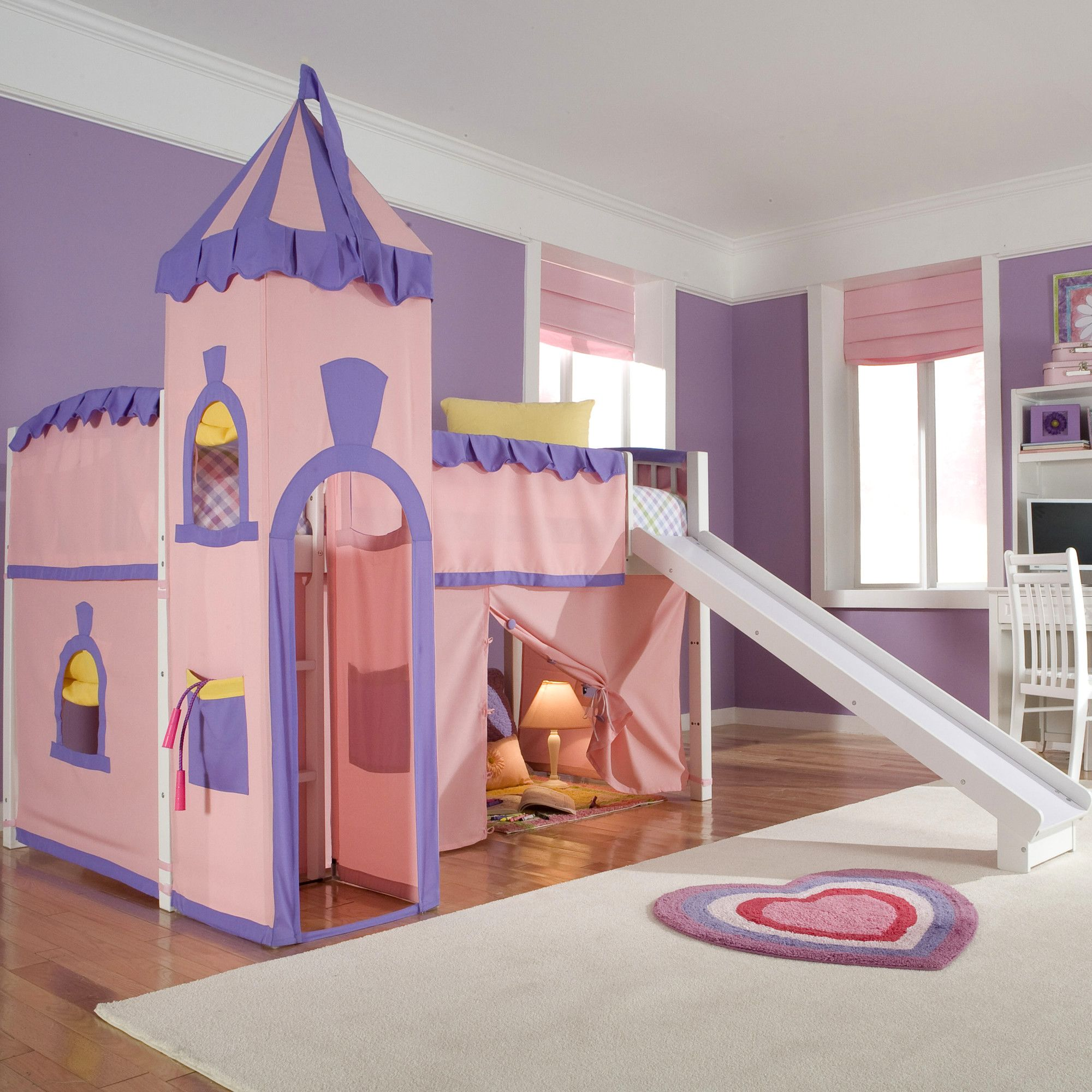 Fancy Princess Themed Castle Loft Bed Decoration Idea for Kids Girl
