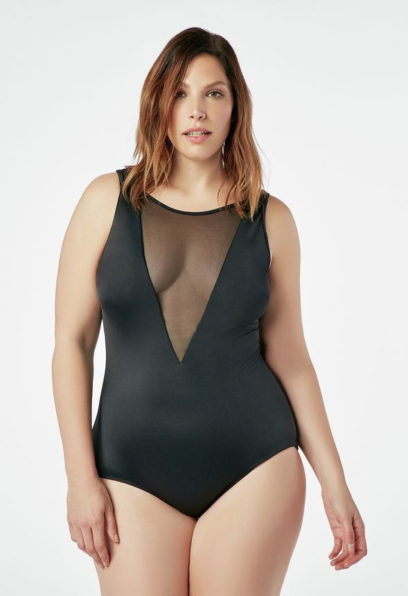 09d00ae0561 JustFab Plunge Mesh Swimsuit Womens Black plus Size 2X | Products ...