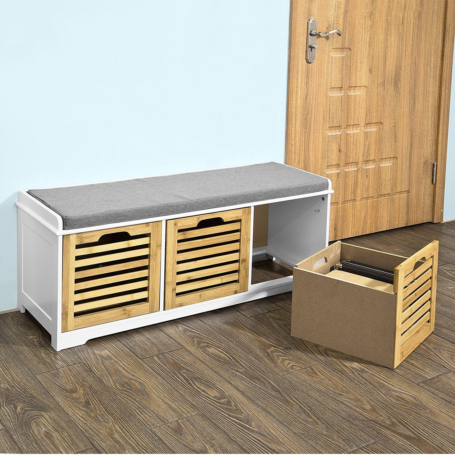 Amazon Com Haotian Storage Bench With 3 Drawers Seat Cushion Shoe Cabinet Storage Unit Bench Fsr23 Wn Ki Storage Bench Entryway Shoe Storage Desk Storage