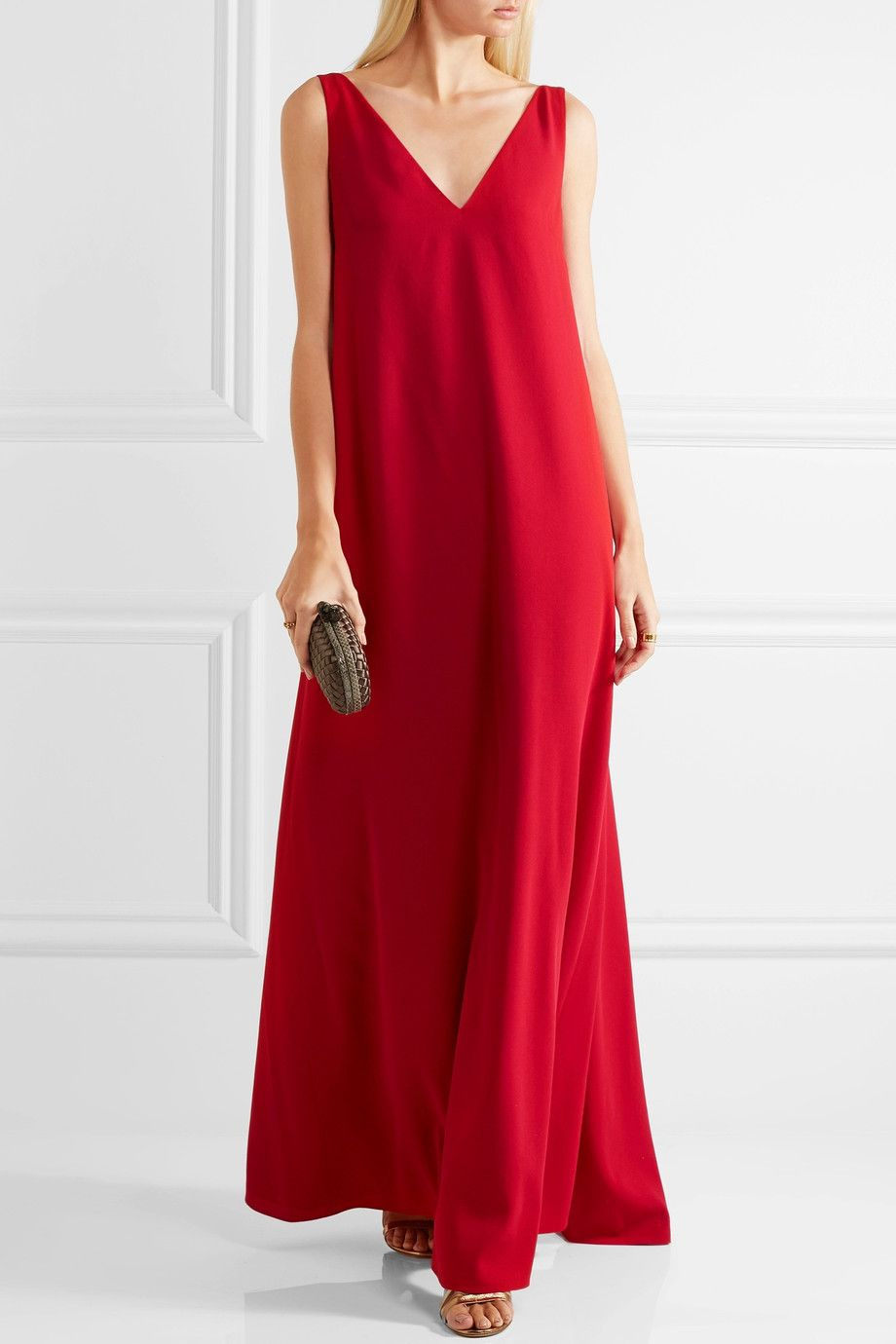 Valentino | Draped wool-crepe gown | NET-A-PORTER.COM | šití - šaty ...