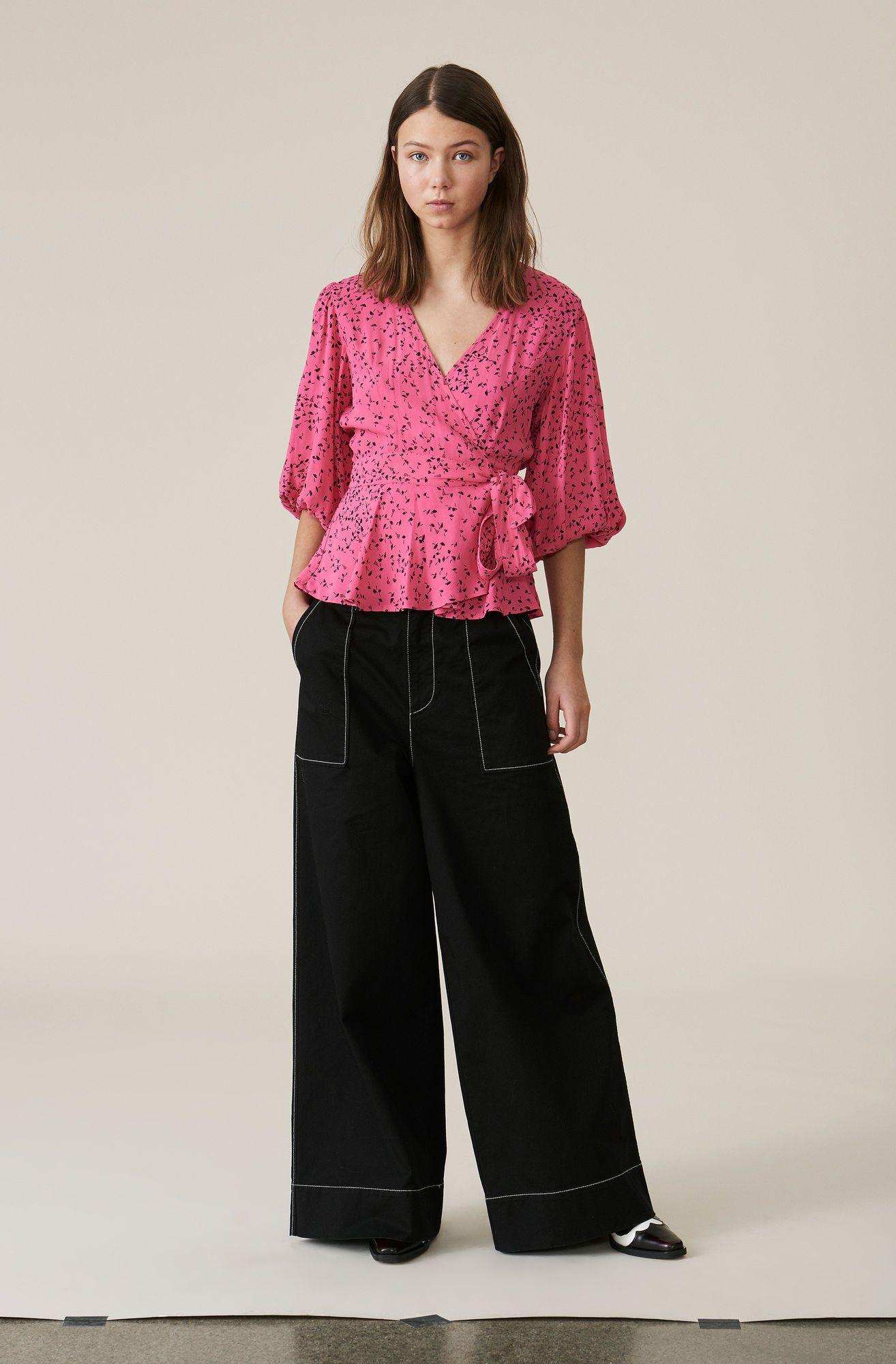 0595e675a8 Barra Crepe Wrap Blouse, Hot Pink | My Style | Wrap blouse, Blouse ...