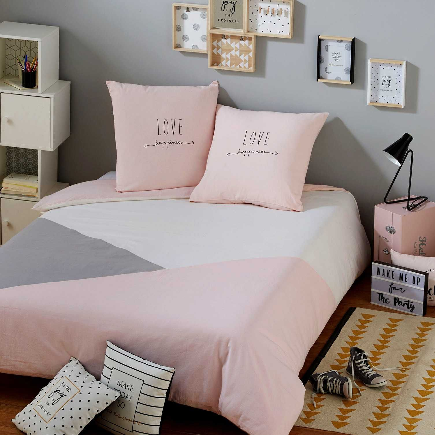 parure de lit en coton gris et rose 140x200 bedspread gray and cotton. Black Bedroom Furniture Sets. Home Design Ideas