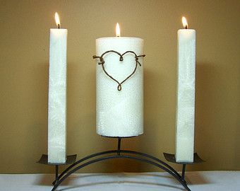 Rustic Unity Candle Set For Weddings 6 White Pillar With Two 8 Candlesticks