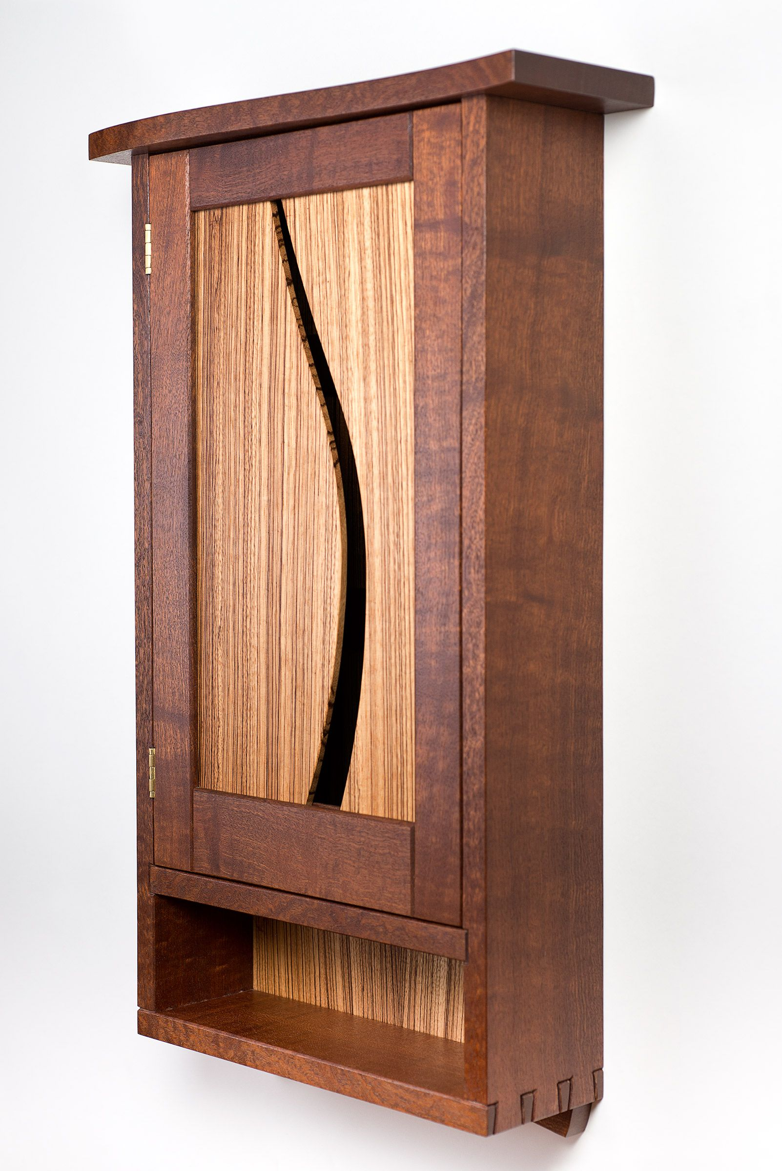 Woodworking Ii Class: Sapele And Zebrawood Wall Cabinet Designed And  Constructed By Brian Hubel At
