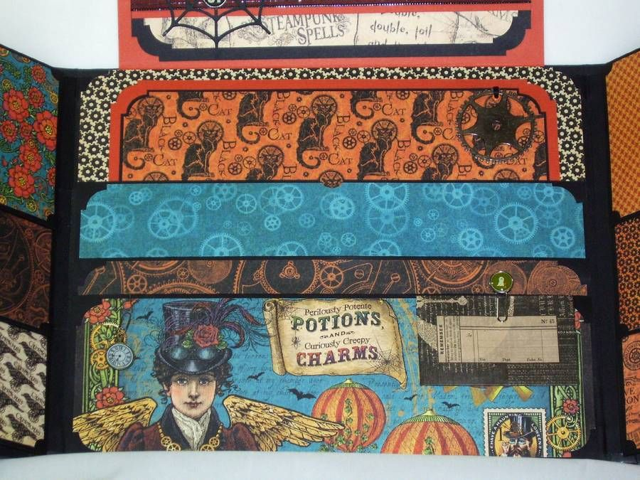 Premade Gatefold Scrapbook Album Halloween Steampunk Graphic 45 Iopg