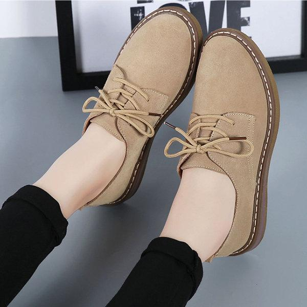 Suede Lace Up Pure Color Casual Flat Shoes