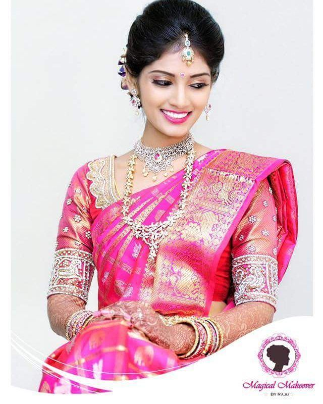 Hairstyles With Flowers Kerala: South Indian Bride. Diamond Indian Bridal Jewelry.Temple