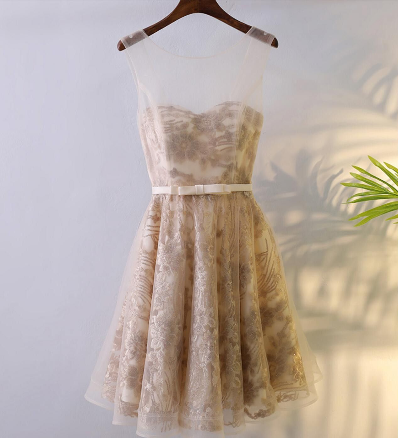 Lace Round Neckline Short Homecoming Prom Dresses, Affordable Corset Back Short Party Prom Dresses, Perfect Homecoming Dresses, CM246