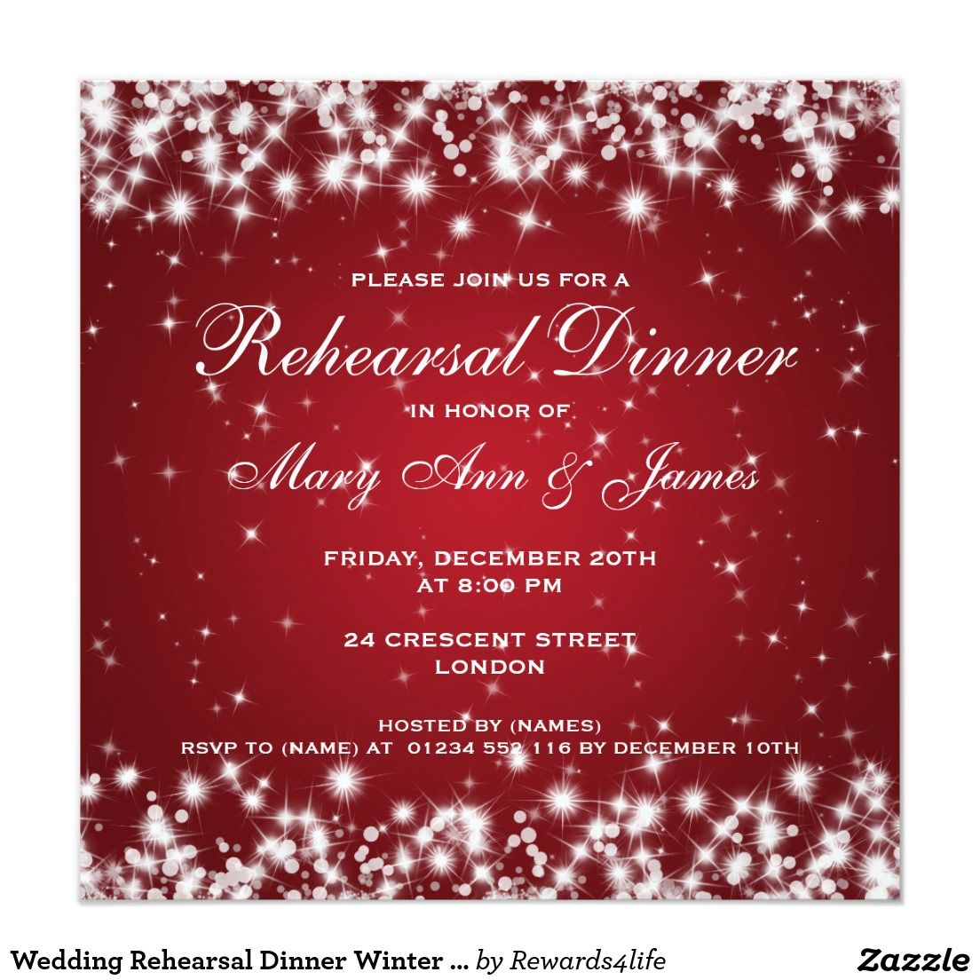 Wedding Rehearsal Dinner Winter Sparkle Red | Rehearsal Dinner ...
