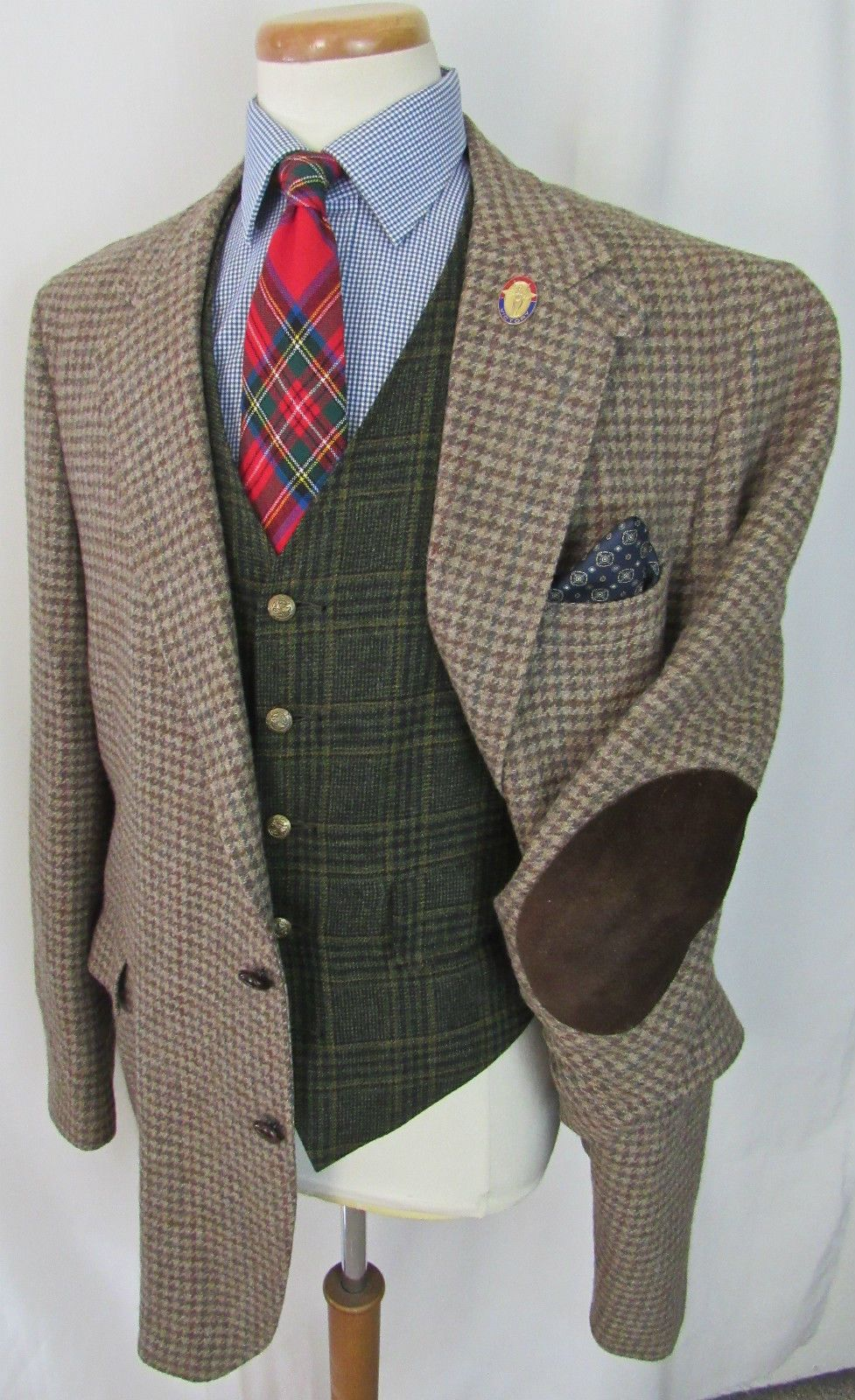 8514a99319c9b 1 of 7: Vtg Norfolk BELTED BACK Tweed Hunting blazer 46 L shooting jacket  ELBOW PATCHES