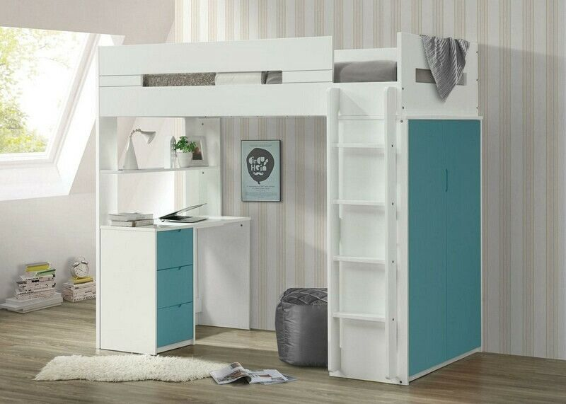 Acme 38045 Nerice White Teal Finish Wood Loft Bunk Bed Set Desk
