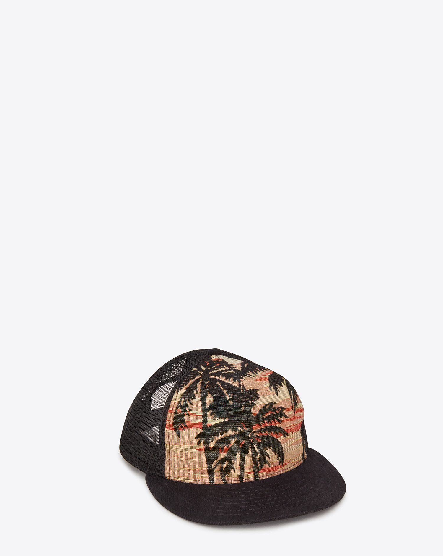 Saint Laurent Trucker Hat In Orange And Multicolor Palm Trees At Sunset  Cotton And Polyester Woven Jacquard  d374f4c0626