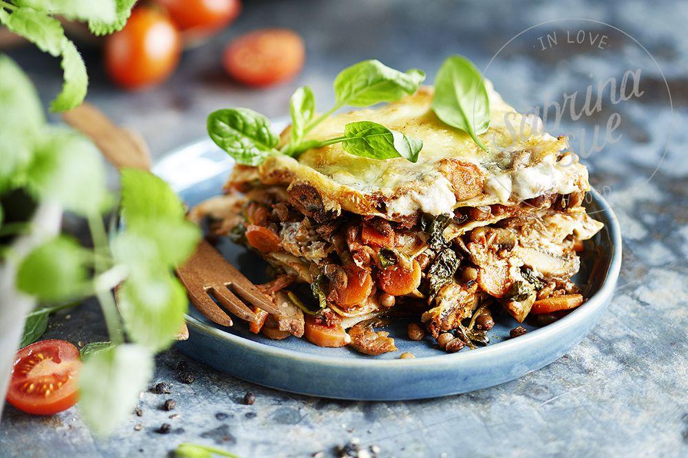 Linsen-Spinat Lasagne (vegan) - sabrinasue - in love with food #spinatlasagne