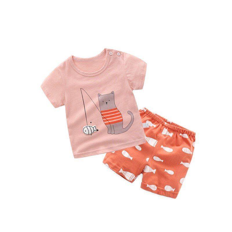 bd4d0926d12 Summer Baby Girls Clothing Sets Cartoon Children Clothing T-shirt+Shorts Kids  Clothes Toddler