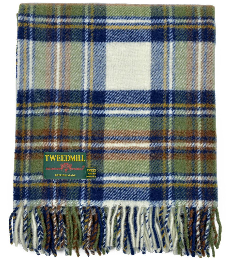 Heritage Wool Blanket in Stewart Blue Muted Dress Tartan