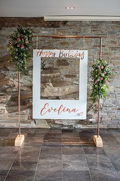 Hanging Frame Photo Booth from a Tropical Pineapple Birthday... #21stbirthdaydecorations