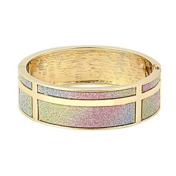 Yoins Yoins Glitter Hinge Bangle Bracelet (6 PAB) ❤ liked on Polyvore featuring jewelry, bracelets and gold