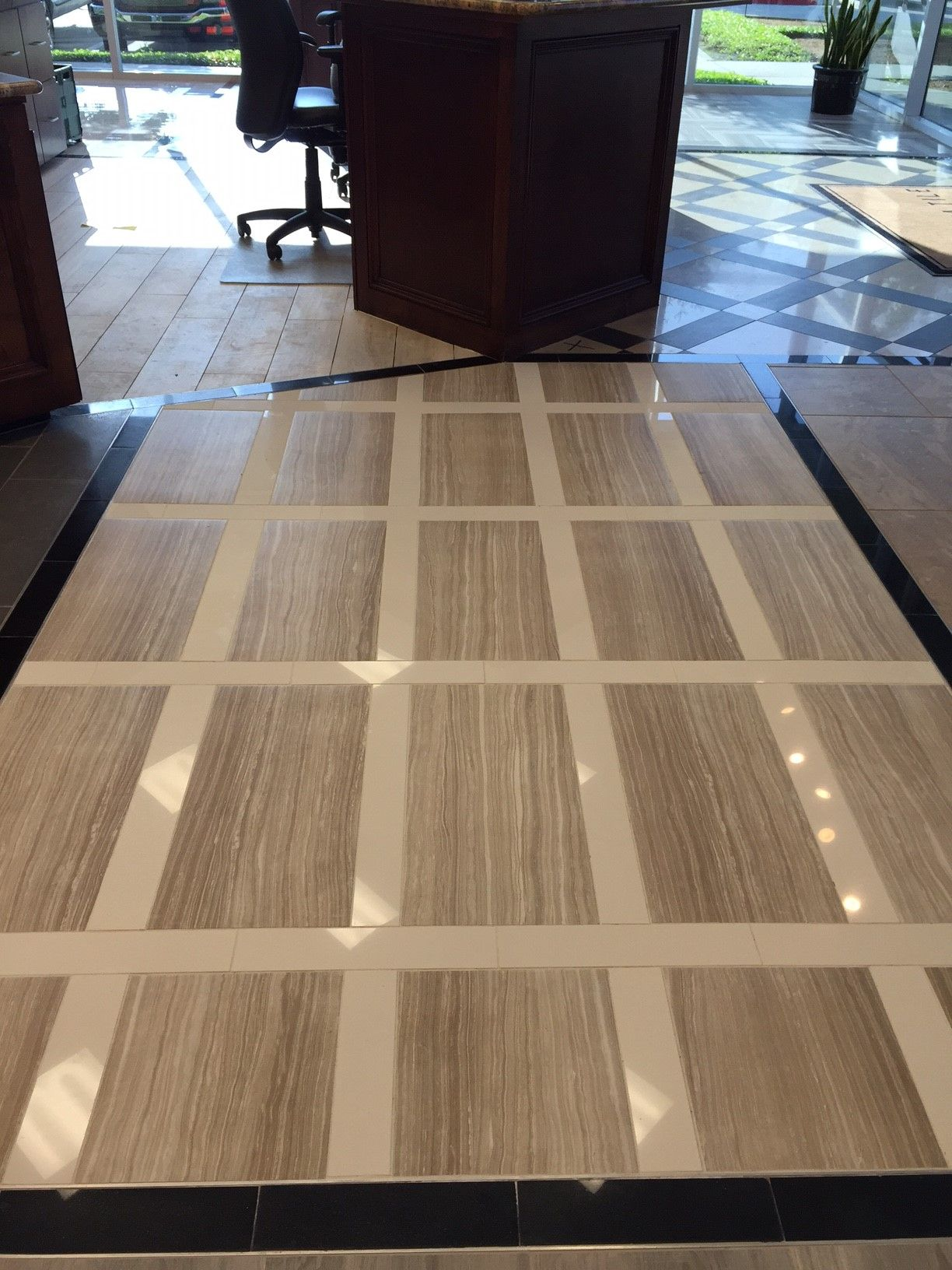 Another new install in our dallas showroom two porcelain tiles another new install in our dallas showroom two porcelain tiles eramosa and pearl white dailygadgetfo Gallery