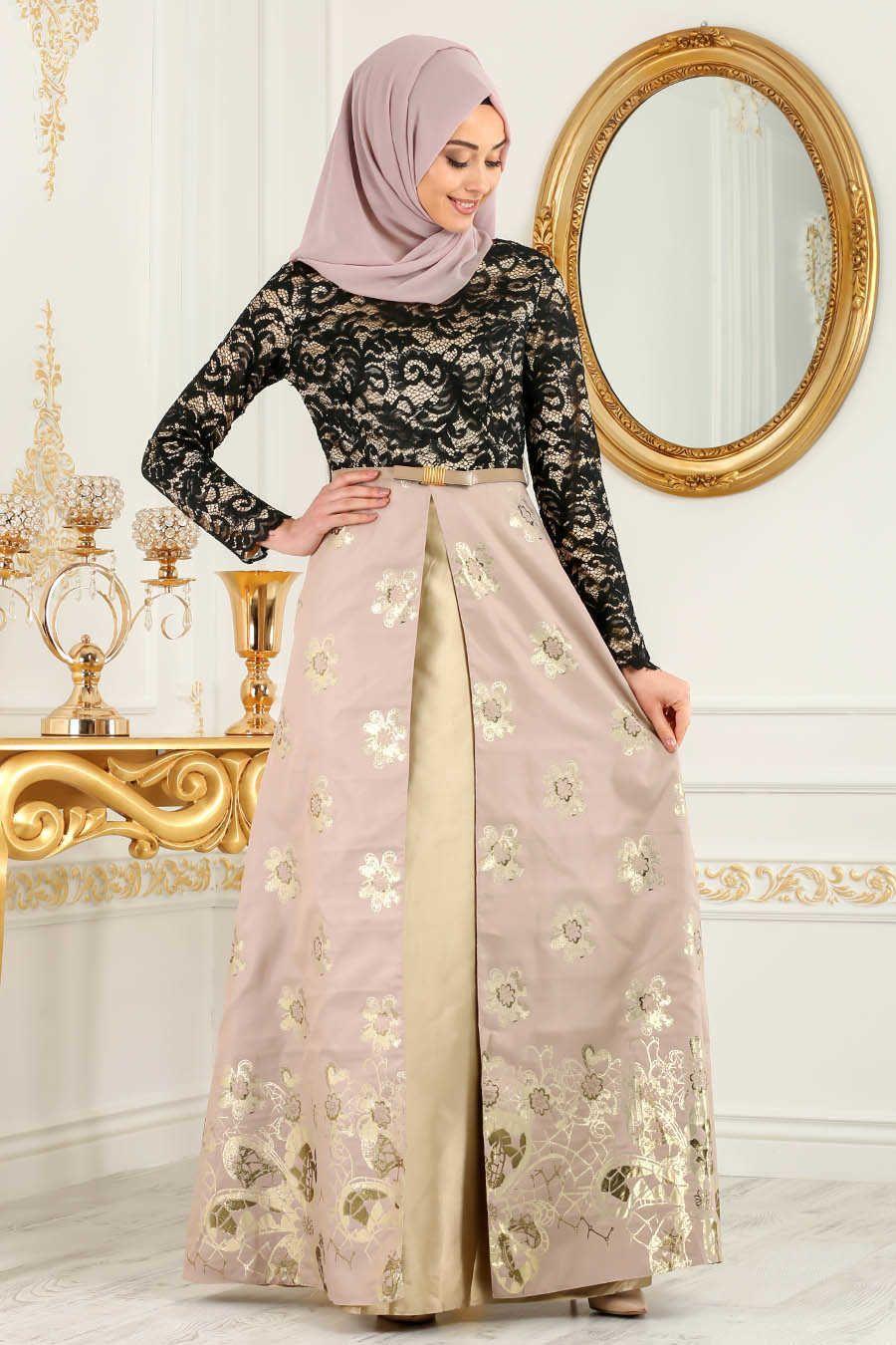 Neva style ecru hijab evening dress e evening dress
