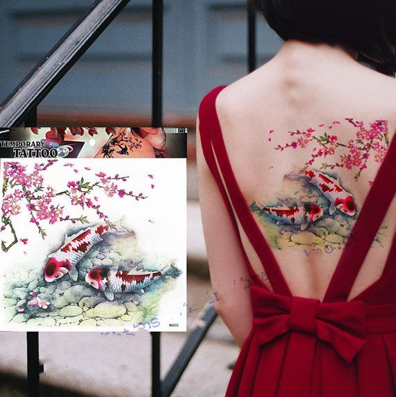 Carp fish with plum temporary tattoos Shoulder Lower Back Waterproof temporary Size: 208 mm X 218 mm Non-toxic Usually keeps 1~5 days according to