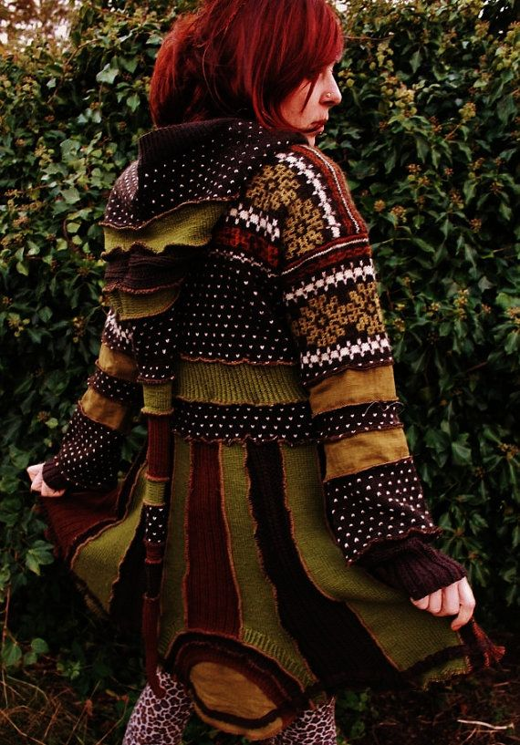 sale varm nordic elf pixie gypsy hippie bohemian coat cloak in moss olive green and rust brown. Black Bedroom Furniture Sets. Home Design Ideas