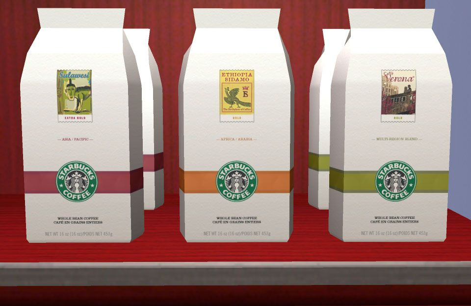 Mod The Sims - Starbucks Accessories - Coffee Bags, Tea Boxes, Mugs, Decorative Plate